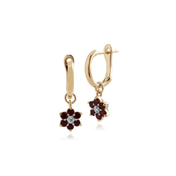 Gemondo 9ct Yellow Gold Mozambique Garnet and Diamond Floral Hoop Earrings  Image