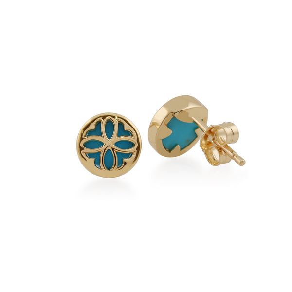 Art Nouveau Turquoise Floral Overlay Stud Earrings Image 2