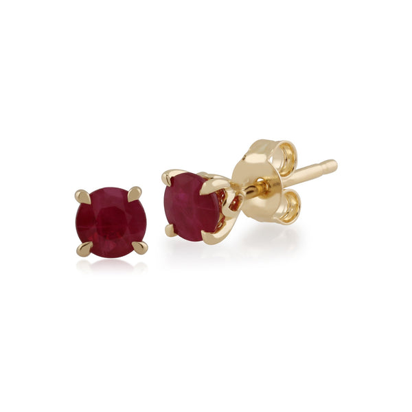 Gemondo Ruby Round Stud Earrings In 9ct Yellow Gold 4mm Claw Set Image