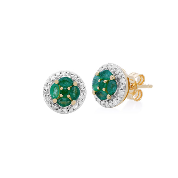 Classic Emerald & Diamond Halo Cluster Stud Earrings Image 1
