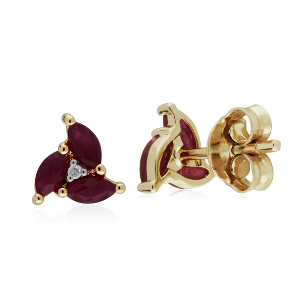 Floral Ruby & Diamond Stud Earrings Image 2