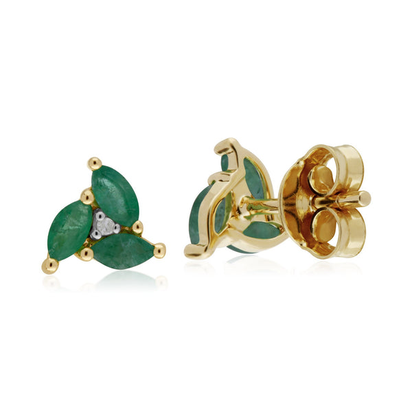 Floral Emerald & Diamond Stud Earrings Image 2