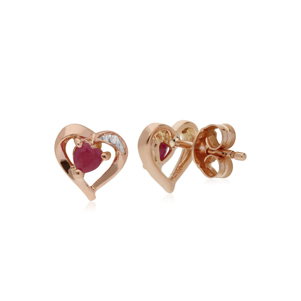 Classic Ruby & Diamond Heart Stud Earrings Image 2