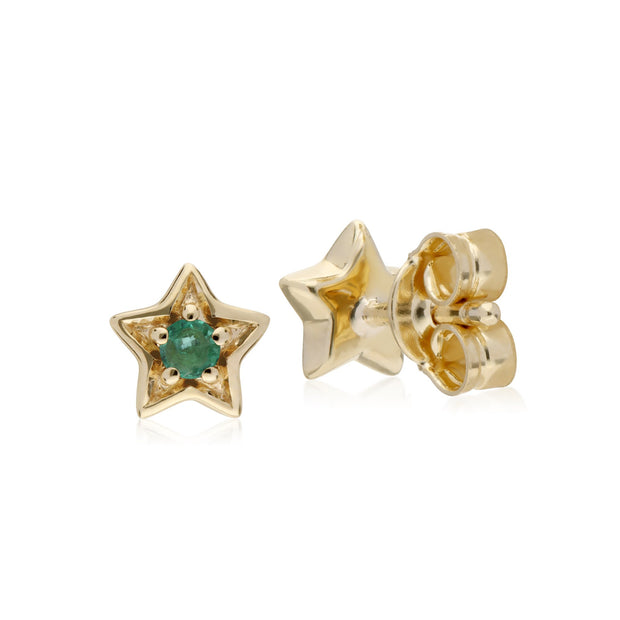 Classic Emerald Star Stud Earrings Image 2