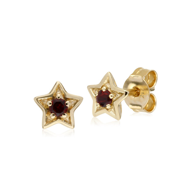 Classic Garnet Star Stud Earrings Image 1
