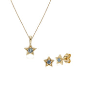 Contemporary Aquamarine Star Earrings & Necklace Set Image 1