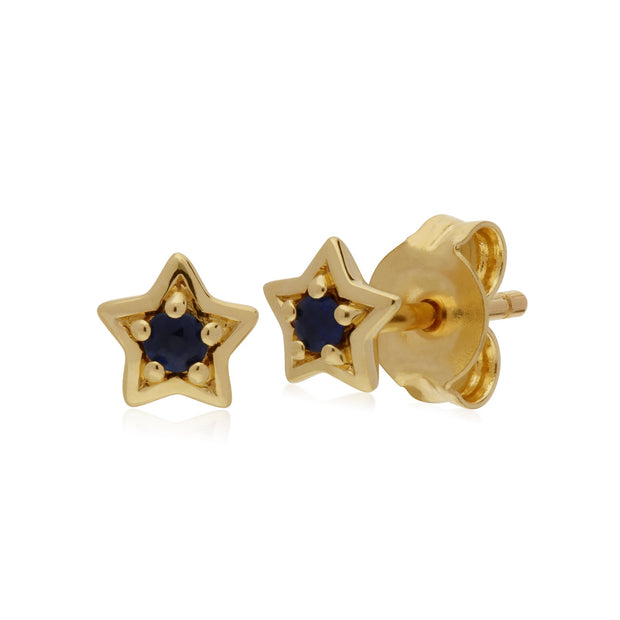 Classic Sapphire Star Stud Earrings Image 1