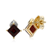 Classic Square Garnet Stud Earrings Image 2