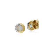 Classic Blue Topaz & Diamond Stud Earrings Image 2