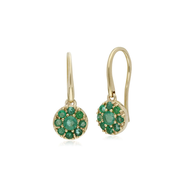 Classic Emerald Round Cluster Fish Hook earrings Image 1