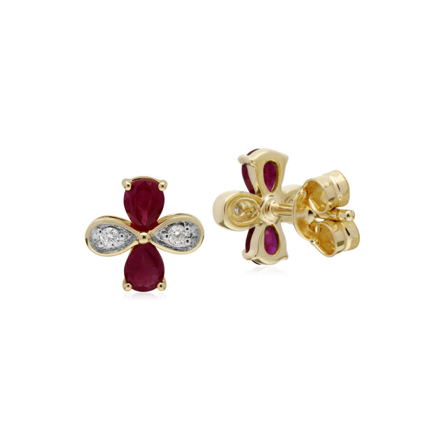 Floral Ruby & Diamond Clover Stud Earrings Image 2