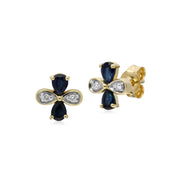 Floral Sapphire & Diamond Clover Stud Earrings Image 1