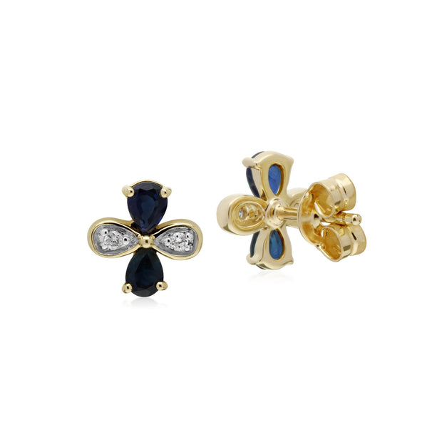 Floral Sapphire & Diamond Clover Stud Earrings Image 2