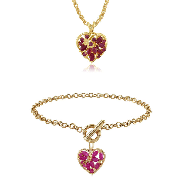 Classic Marquise Ruby Floral Heart Pendant & Charm Bracelet Image 1