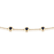 Geometric Sapphire Hexagon Three Stone Bracelet Image 1