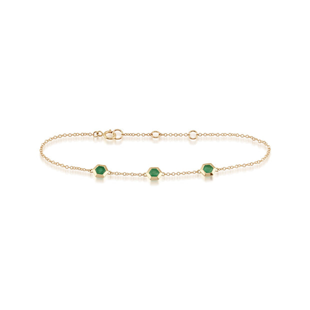 Geometric Emerald Hexagon Three Stone Bracelet Image 2