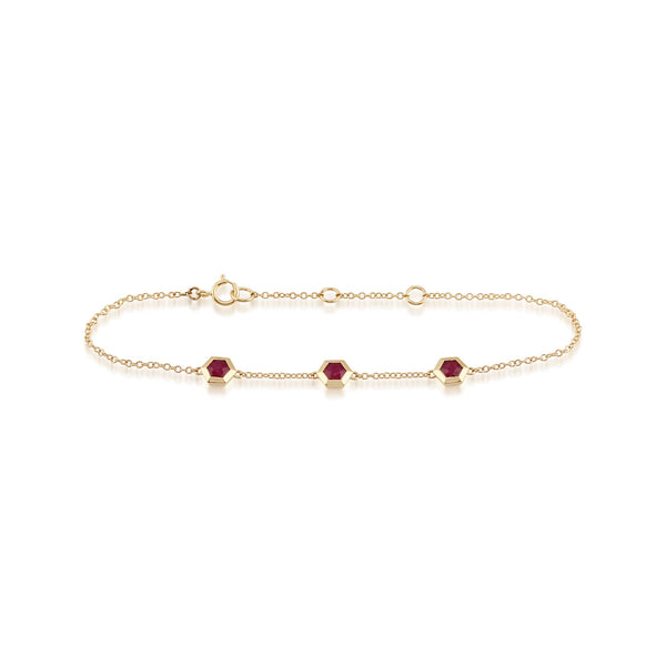 Geometric Ruby Hexagon Three Stone Bracelet Image 2