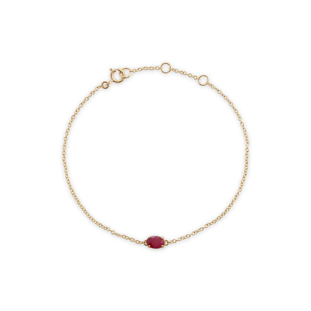 Classic Oval Ruby Single Stone Bracelet Image 2