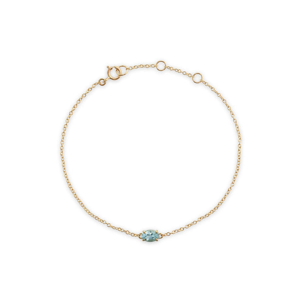 Classic Oval Aquamarine Single Stone Bracelet Image 2