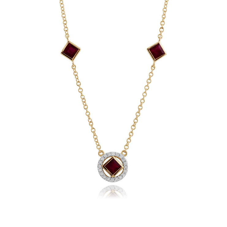 Classic Square Ruby & Diamond Halo Necklace Image 1