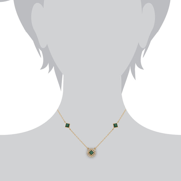 Classic Square Emerald & Diamond Halo Necklace Image 3