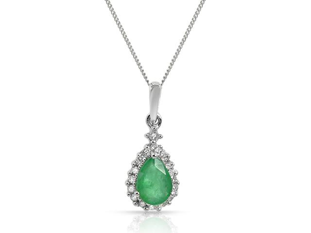 Classic Emerald & Diamond Cluster Pendant on Chain Image 1