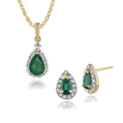 Classic Emerald & Diamond Halo Stud Earrings & Pendant Set Image 1