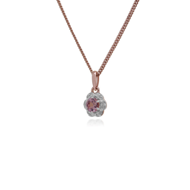 Floral Morganite & Diamond Halo Pendant Image 2