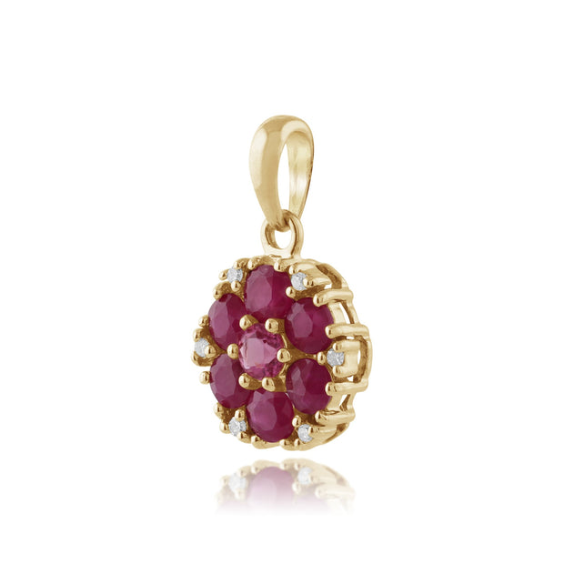 Floral Ruby, Pink Tourmaline & Diamond Locket Pendant on Chain Image 2