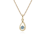 Single Aquamarine Tear Drop Pendant Image 1
