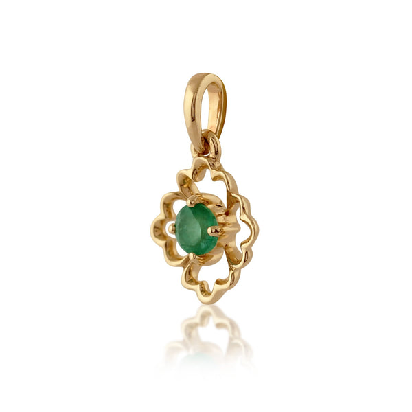 Floral Emerald Pendant on Chain Image 2