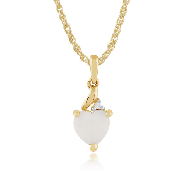 Classic Opal & Diamond Heart Pendant on Chain Image 1