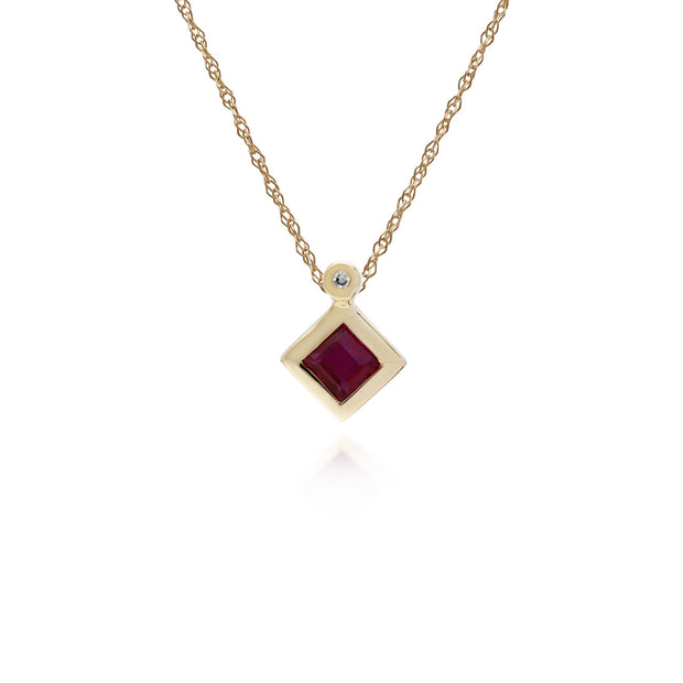 Geometric Square Ruby & Diamond Pendant Image 1
