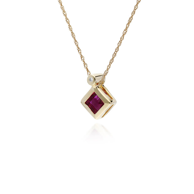 Geometric Square Ruby & Diamond Pendant Image 2