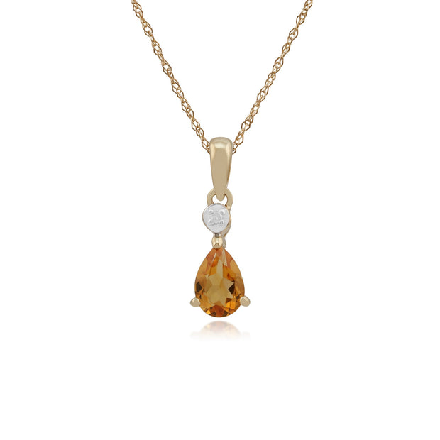 Classic Citrine & Diamond Stud Earrings & Pendant Set Image 3