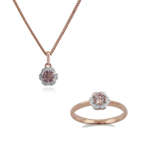 Floral Morganite & Diamond Pendant & Ring Set Image 1
