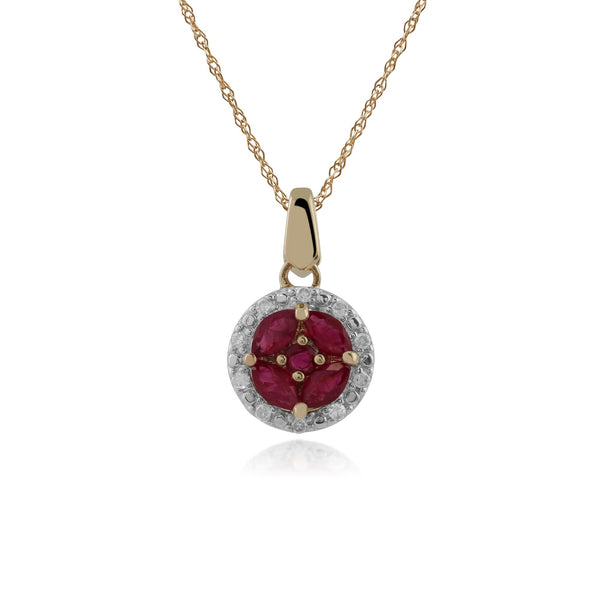 Classic Ruby & Diamond Halo Cluster Pendant Image 1