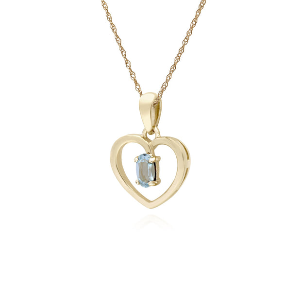 Classic Aquamarine Heart Pendant Necklace Image 2