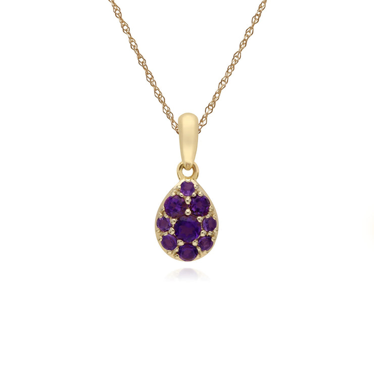 Classic Pear Amethyst Cluster Pendant Necklace Image 1