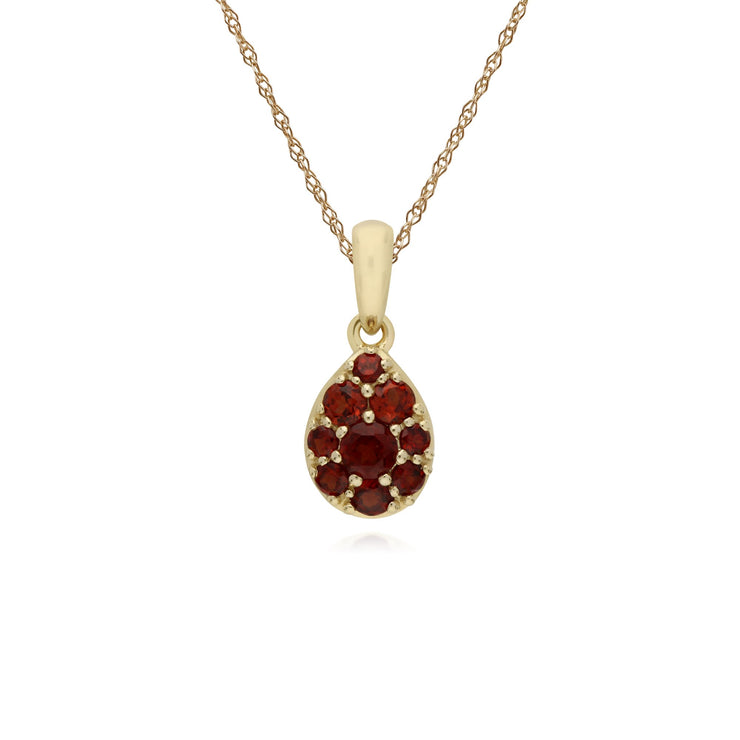 Classic Pear Garnet Cluster Pendant Necklace Image 1