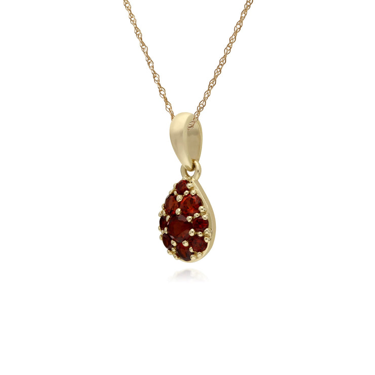 Classic Pear Garnet Cluster Pendant Necklace Image 2