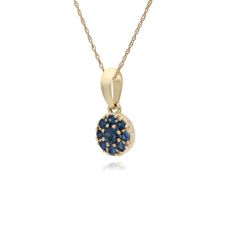 Classic Sapphire Cluster Pendant Necklace Image 2