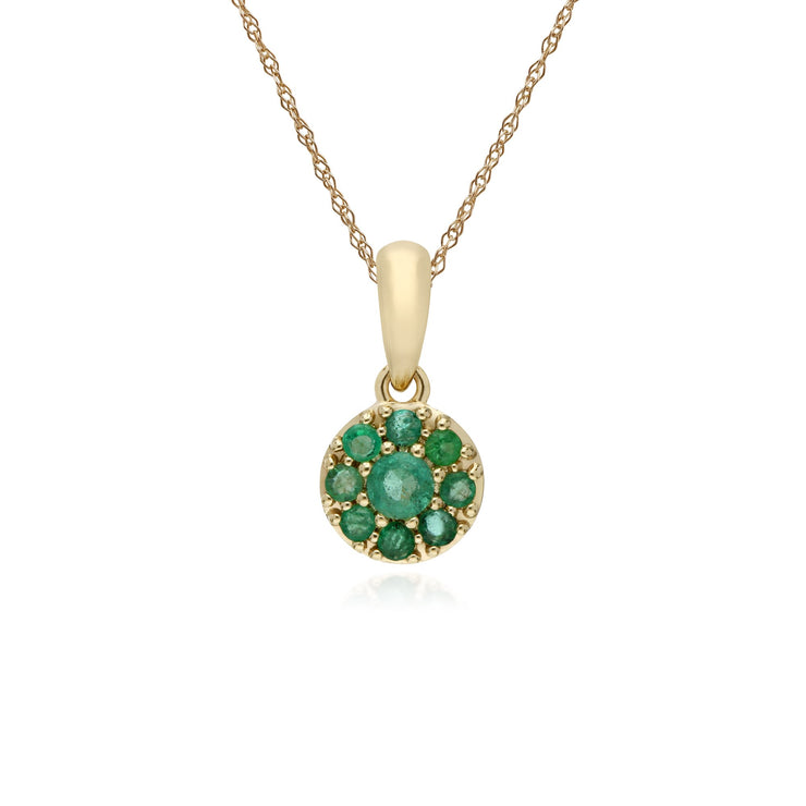 Classic Emerald Cluster Pendant Necklace Image 1