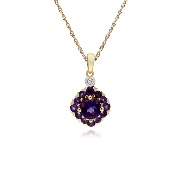 Classic Amethyst Cluster Pendant Necklace Image 1