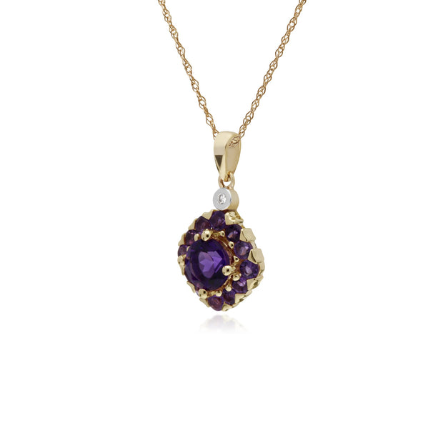 Classic Amethyst Cluster Pendant Necklace Image 2
