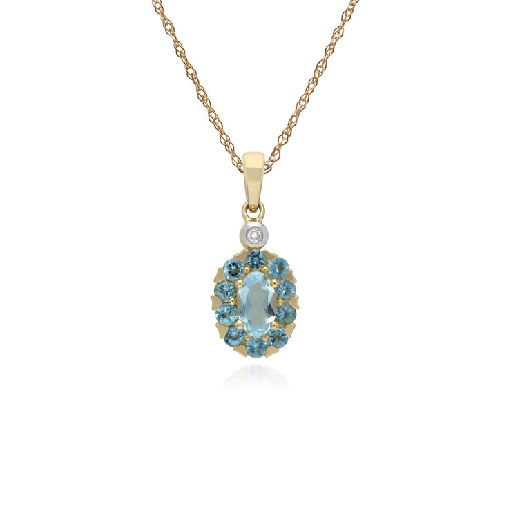 Classic Oval Blue Topaz Pendant Image 1