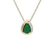 Classic Emerald & Diamond Tear Drop Pendant Image 1