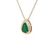 Classic Emerald & Diamond Tear Drop Pendant Image 2