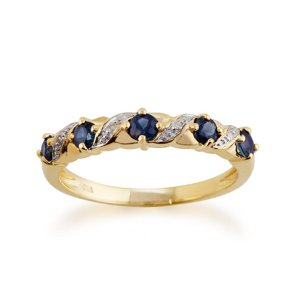 Sapphire and Diamond Half Eternity Ring Image 1