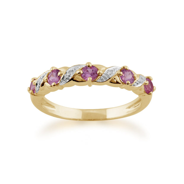 Pink Sapphire and Diamond Eternity Ring Image 1